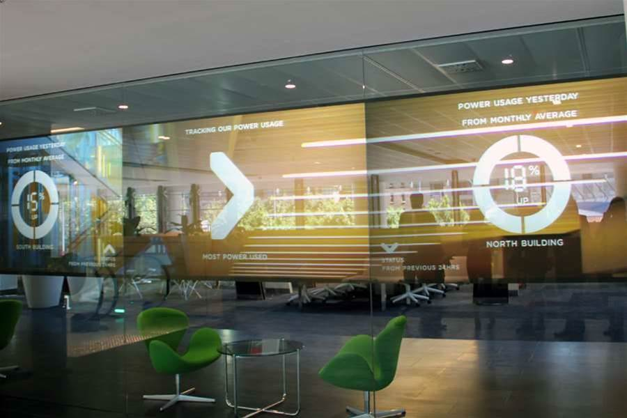 Staff enter and exit the buildings with swipe cards. Screens at the entrance to the North building display information about energy usage. <br><br> Chief information officer Michael Harte said the bank would consider biometric technologies in future, but the bank had software in place to detect abnormal traffic data and had not experienced any behavioural problems to date.