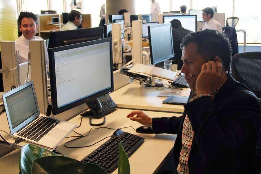 Staff use Microsoft Lync softphones and wireless DECT headsets instead of desk phones.