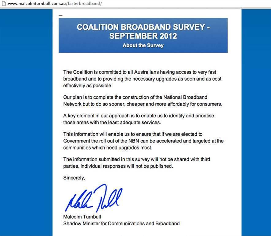 Screenshots: The coalition's broadband survey