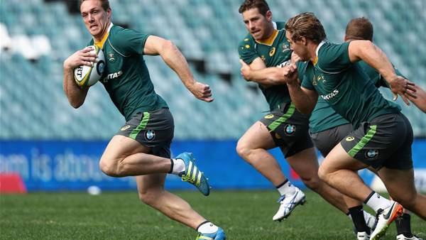 Wallabies players training hard