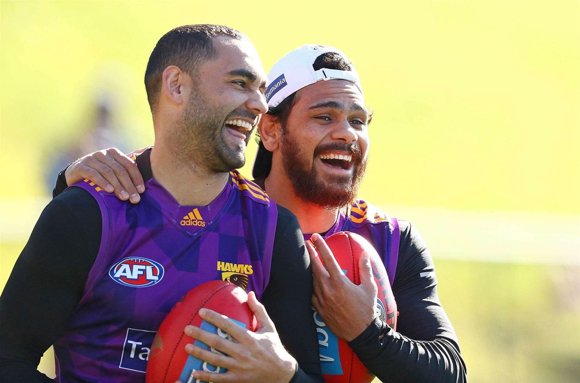 Hawks and Kangaroos hard at training