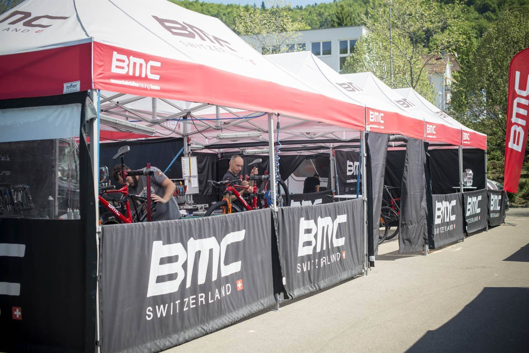 Inside the BMC team tent at a World Cup