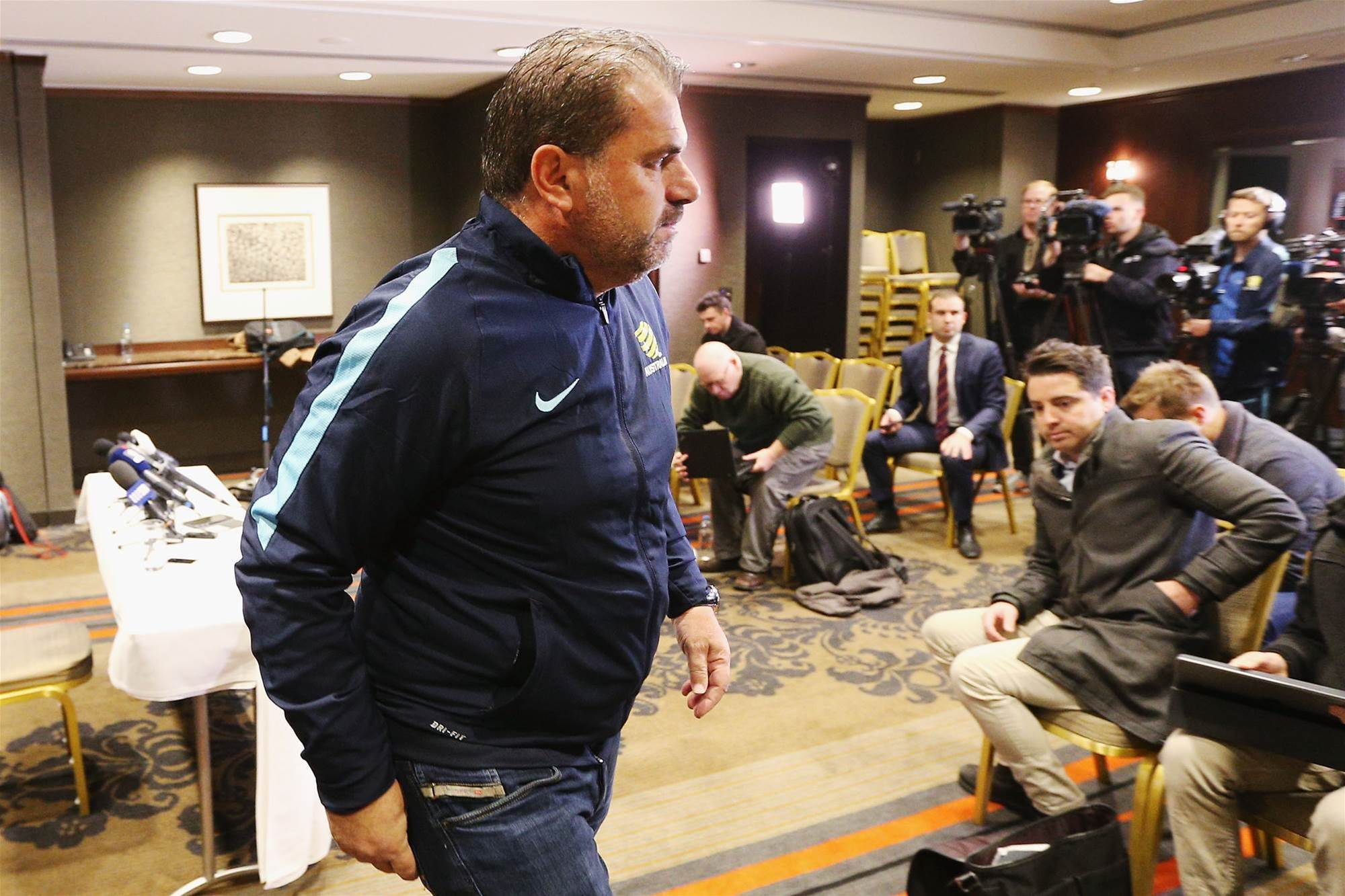 Pic special: Ange faces the media
