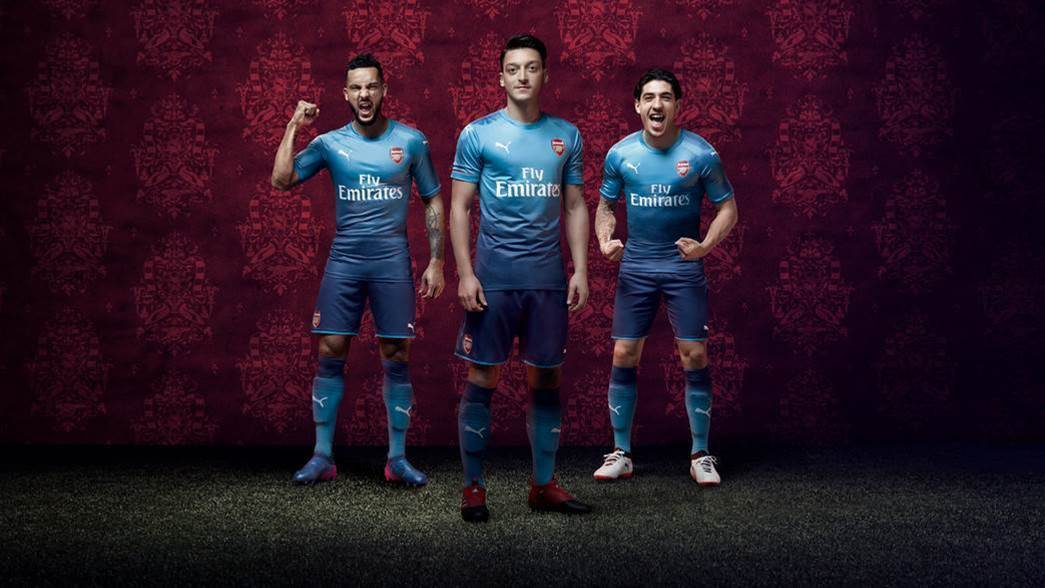Two shades of blue for Arsenal's away kit
