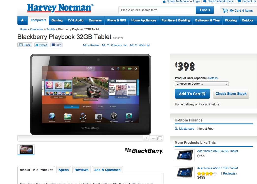 Optus bundles PlayBook with BlackBerry