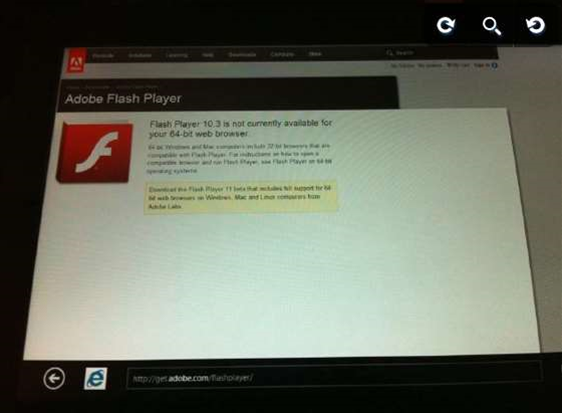 Flash sort of makes it on Windows 8