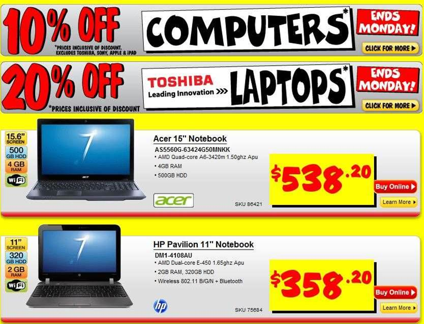 Save 20% on Toshiba Ultrabooks, 10% on TVs and laptops at JB Hi-Fi this weekend