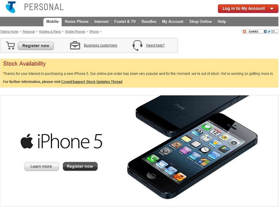 Telstra sells out of iPhone 5