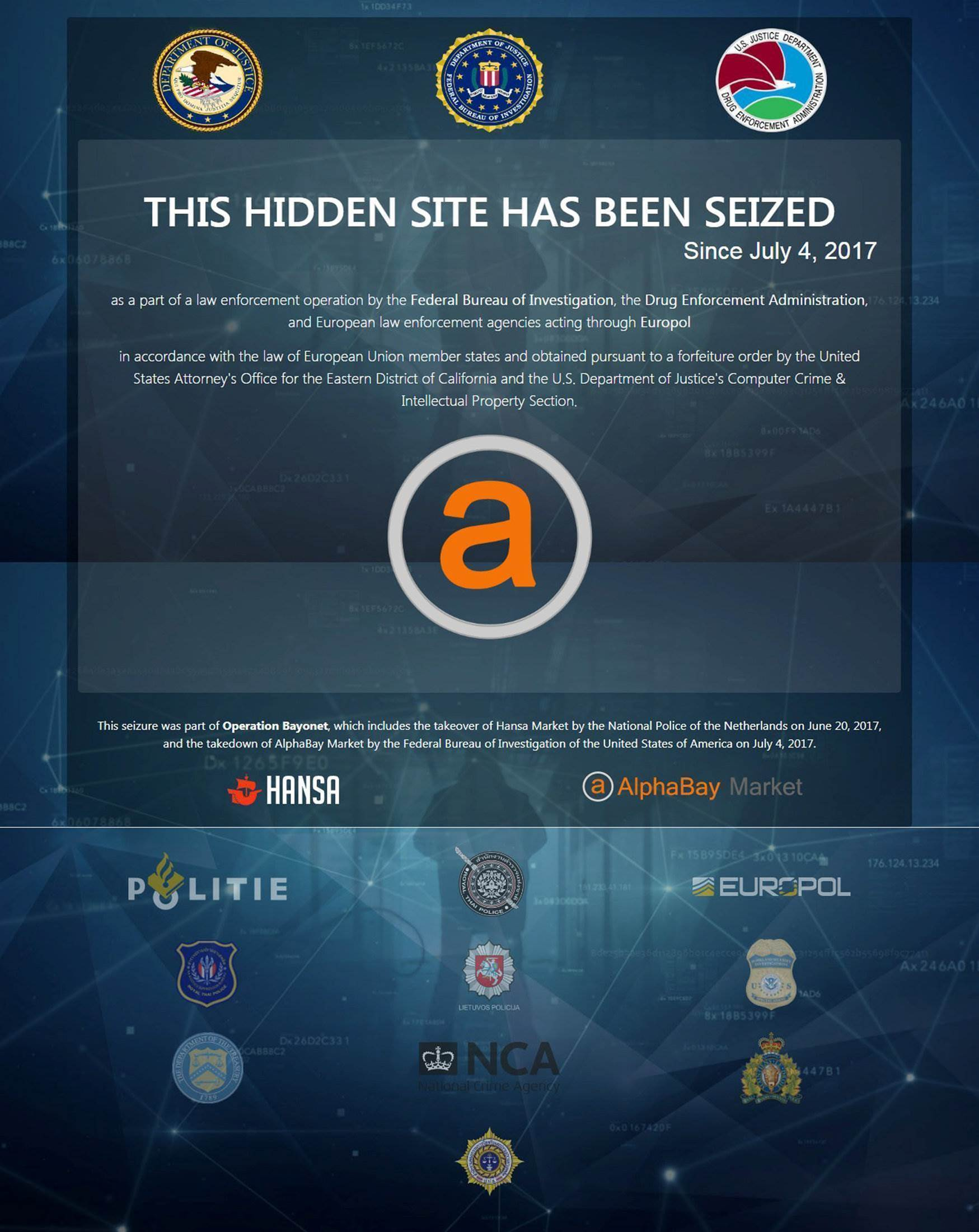 Law enforcement shuts down two biggest dark web marketplaces