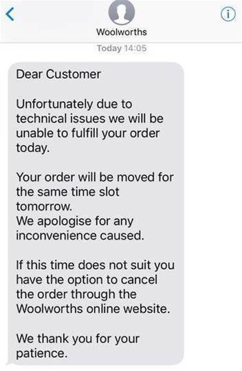 Woolworths online ordering crashes