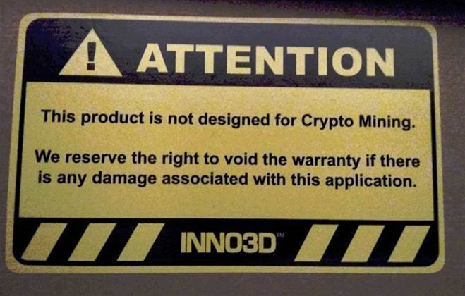 Inno3D warns crypto-miners that mining may void the warranty on their video cards