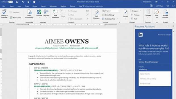 Office 365 gets LinkedIn Resume Assistant