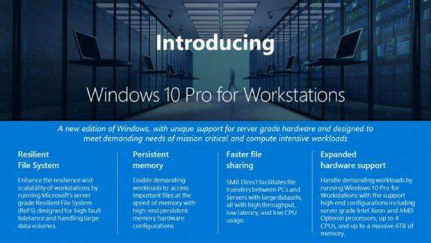 Windows 10 Pro for Workstations to arrive with Creators Update