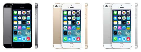 Apple's new iPhone 5s comes in grey, gold and silver cases