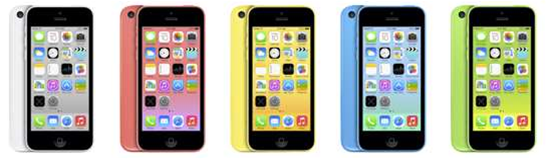Apple's new plastic iPhone 5c in multiple colours