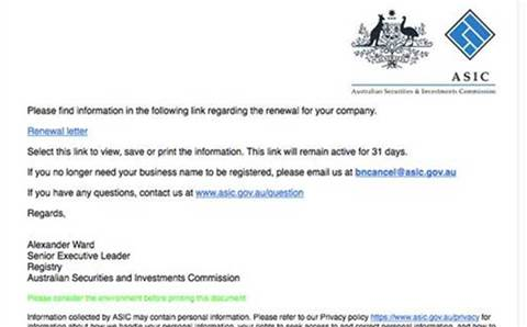 Fake Australian Securities and Investments Commission emails target business owners with malware