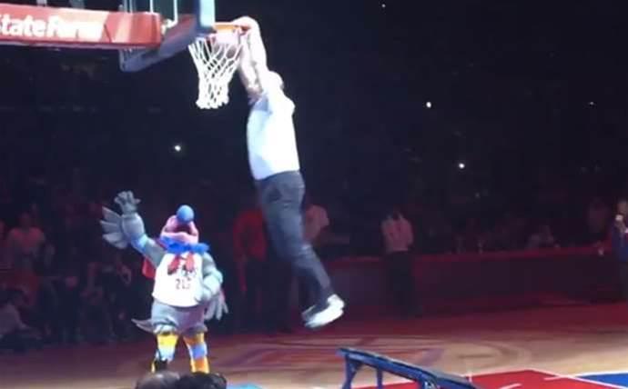 Watch Steve Ballmer dunk