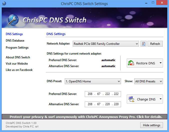 Quickly change your DNS server with ChrisPC
