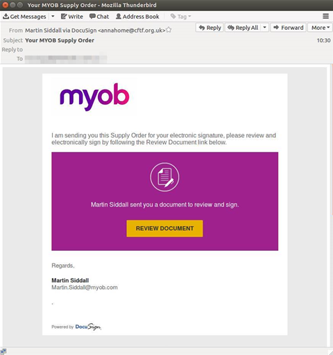 Fake MYOB orders hit inboxes