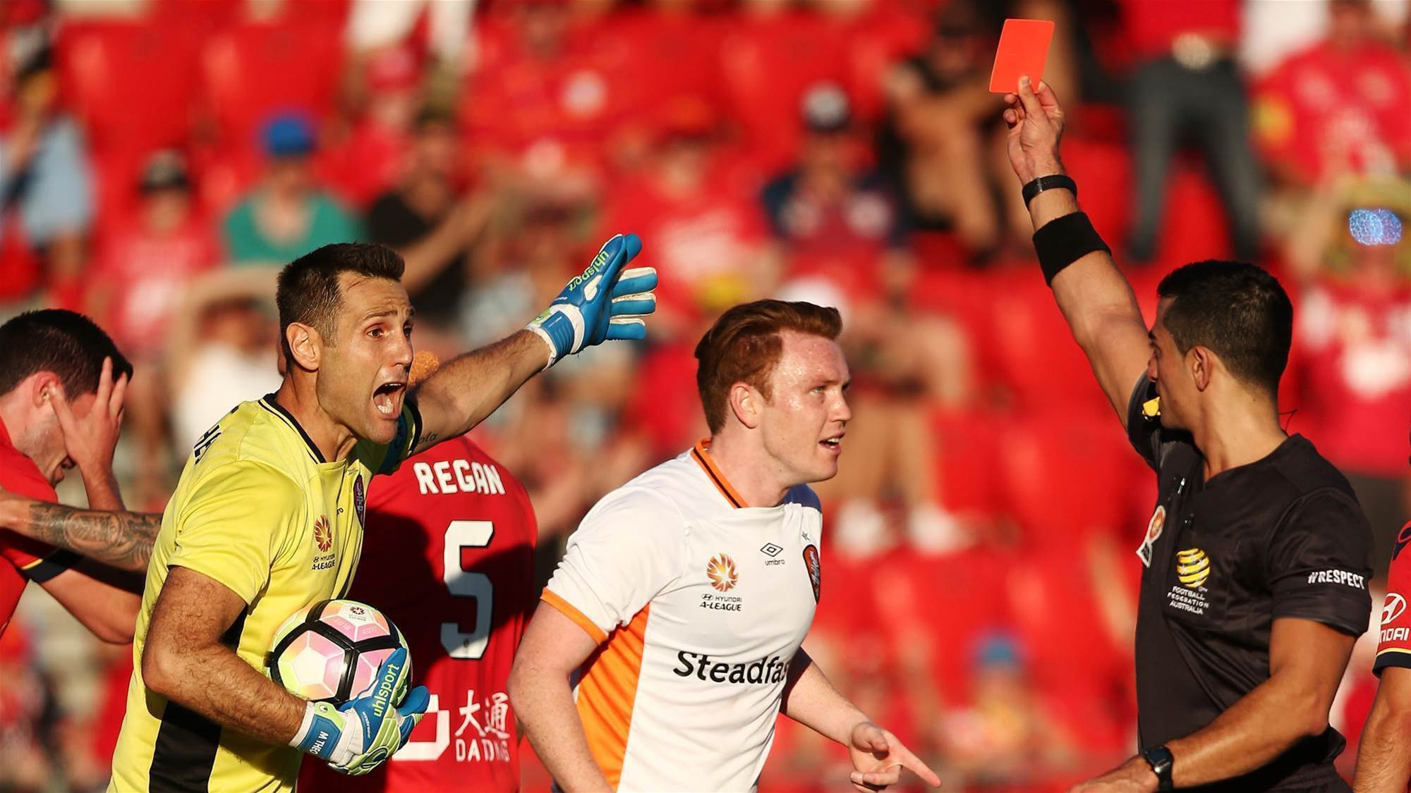 Adelaide snatch win after bizarre send-off