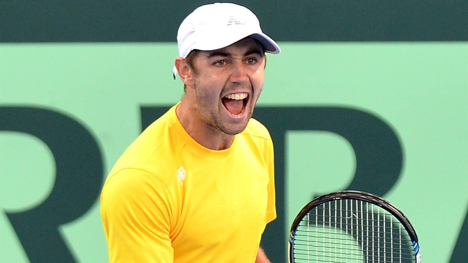 Aussie battler downs US star in Davis Cup