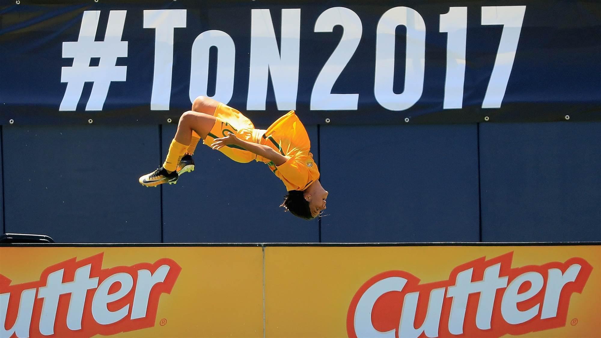 Kerr hits hat-trick as Matildas storm past Japan
