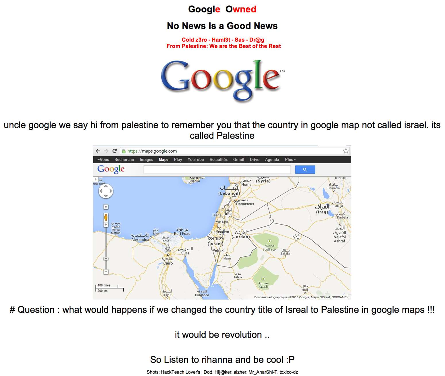 The defaced Google Palestine home page.
