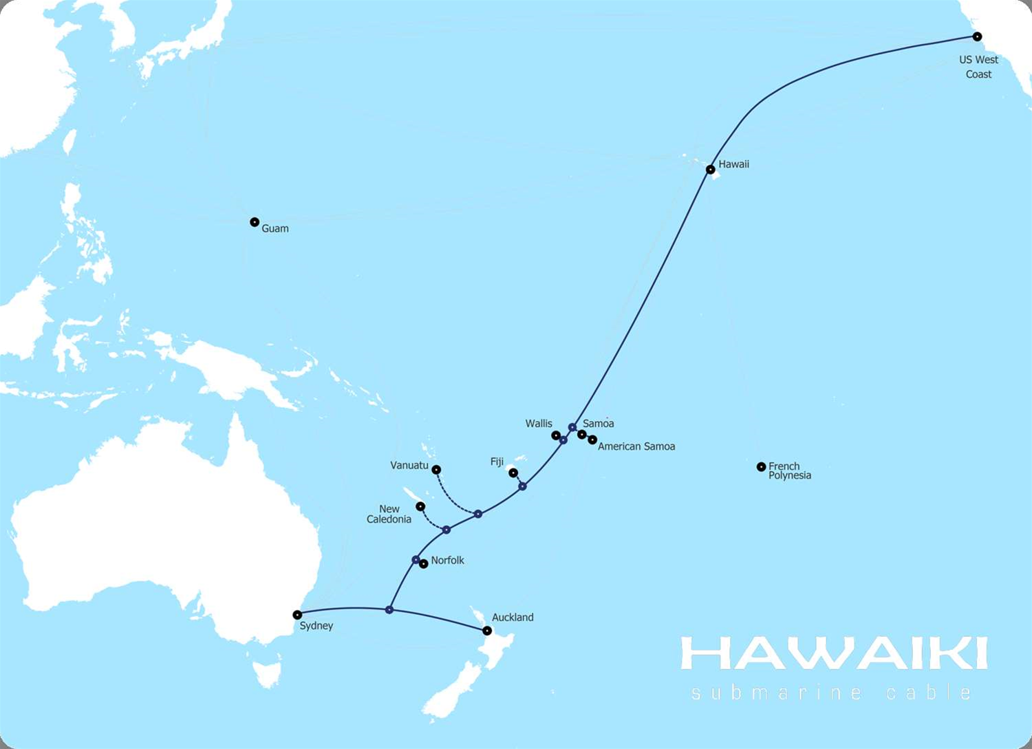 Proposed route of the Hawaiki Cable