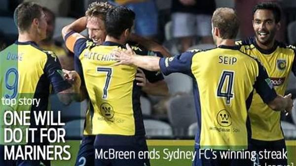 Mariners end Sydney FC's winning streak