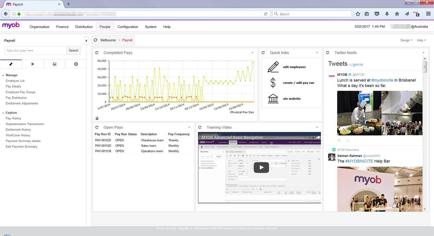 MYOB Advanced suite gets payroll