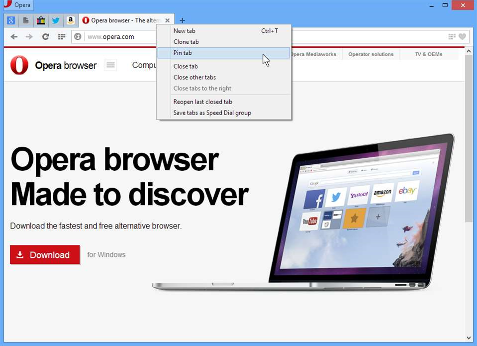 Opera 17 FINAL added pinned tabs, custom search engines