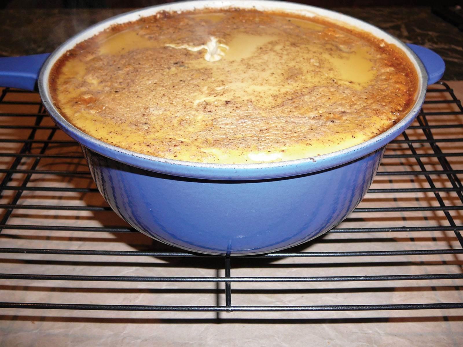 RECIPE: Caramel and pear baked rice custard