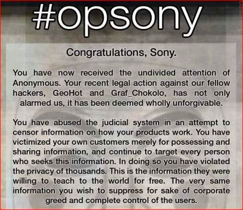 Anonymous DDoS hobbles Sony