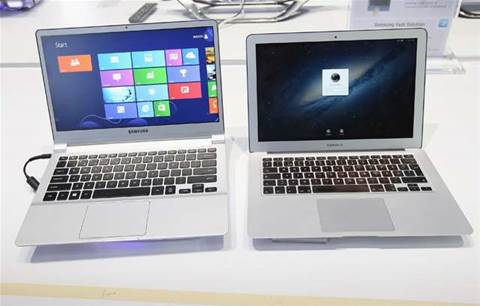 Spot the difference: here's a Samsung Series 9 and Macbook Air side-by-side