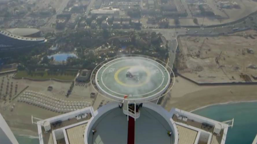 VIDEO: F1 car does donuts on top of a skyscraper