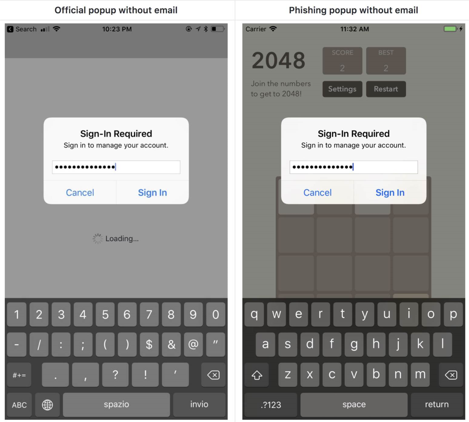 Apple iOS system dialogs easily spoofed for phishing