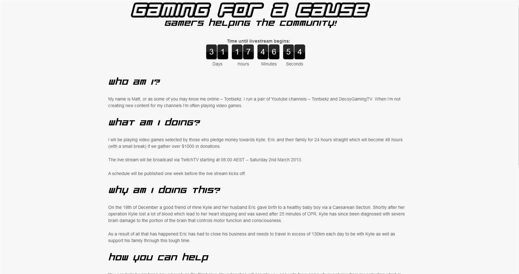 Support Gaming for a Cause