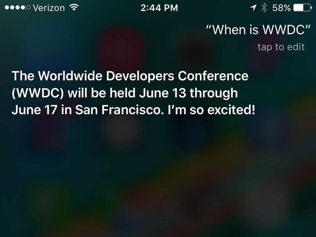 Apple's WWDC 2016 dated for 13-17 June, says Siri