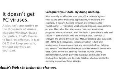 """Apple removes """"more secure than Windows"""" claims"""