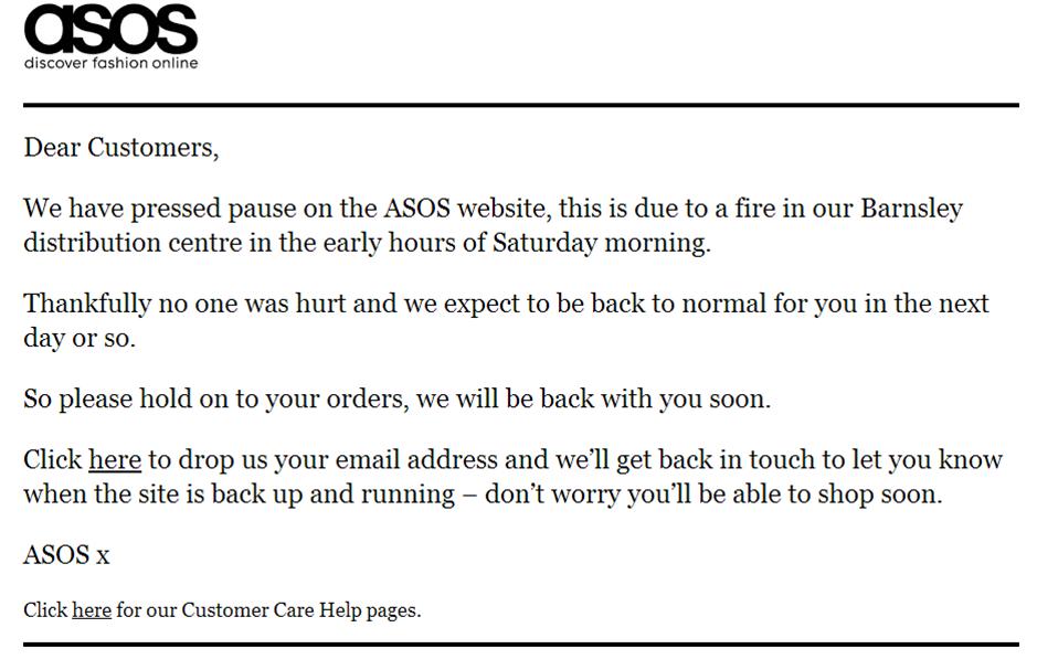Warehouse fire forces Asos website offline