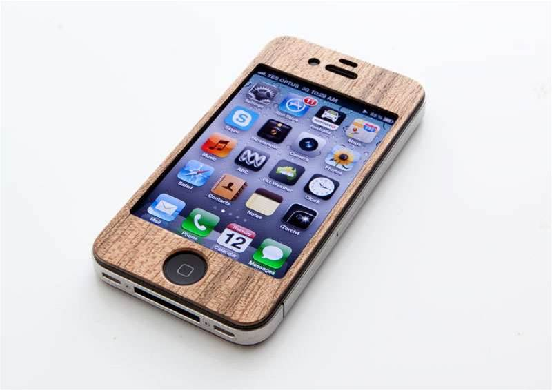 Carved skin provides a real wood finish to your iPhone