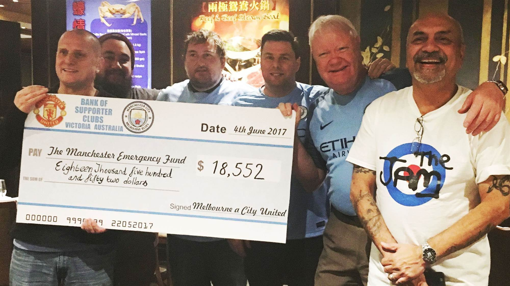 Melbourne's City-United fans raise record amount for Manchester victims