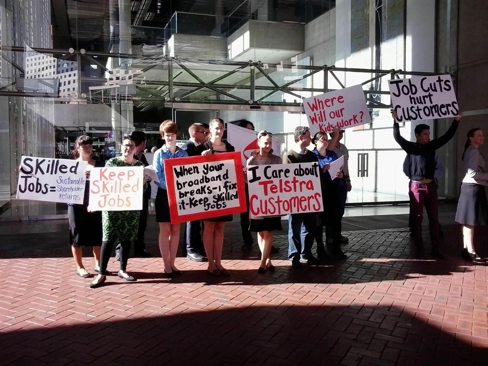 Photos: Union protests Telstra job cuts