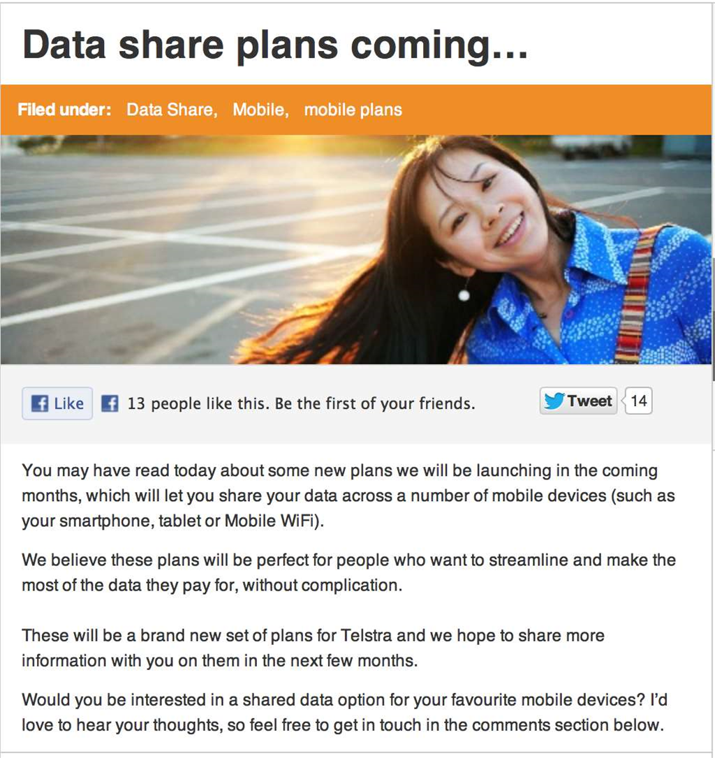 "Shared data plans ""coming soon"" to Telstra"