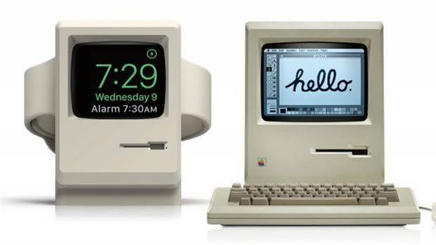 This Apple Watch charging stand looks like a dinky Macintosh 128K