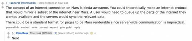 Elon Musk drops by Reddit to answer people's burning Mars questions
