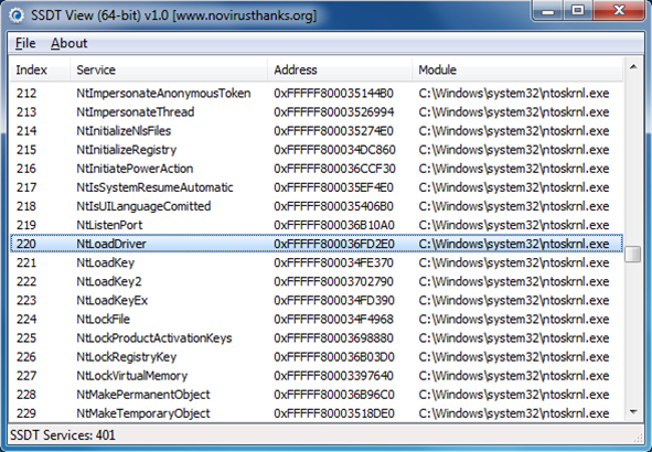 SSDT View (64-bit): a basic but very easy way to look for stealthy malware