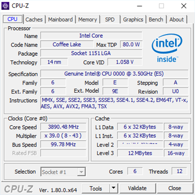 CPU-Z screen of six-core Coffee Lake CPU leaks