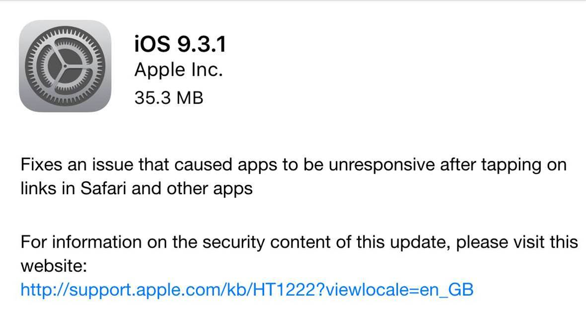 Apple rolls out fix for iOS 9.3 web links issue