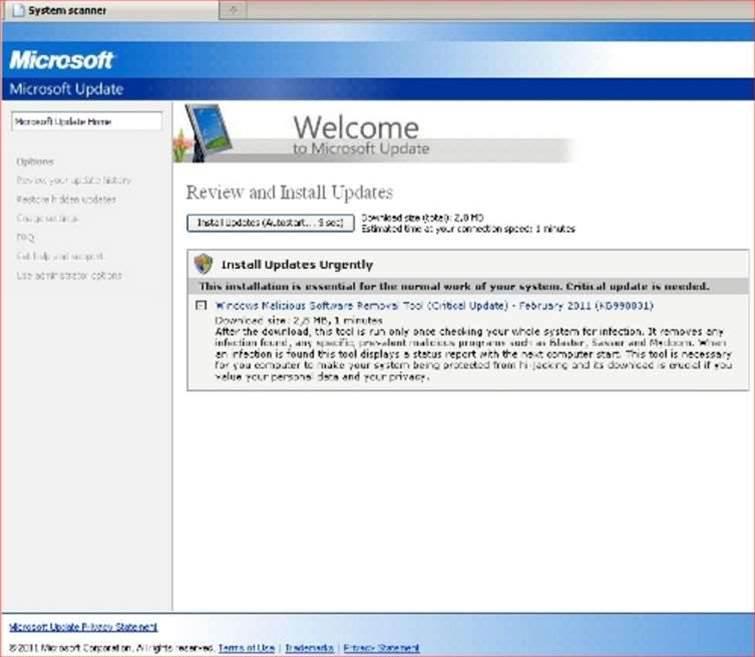 Virus alert: malware mimicking Windows Updates